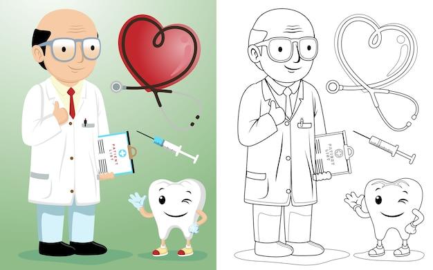 Dibujos animados de dentista calvo con equipo médico