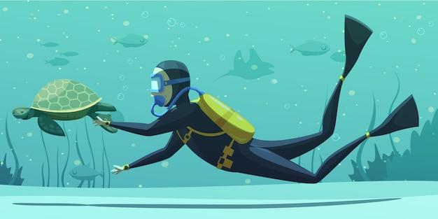 Dibujos animados de deporte de buceo bajo el agua