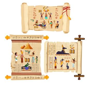 Dibujos animados de desplazamiento de papiro de egipto antiguo con jeroglíficos