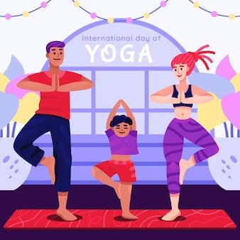 Dibujos animados del día internacional de la ilustración del yoga