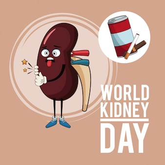 Dibujos animados del día mundial del riñón