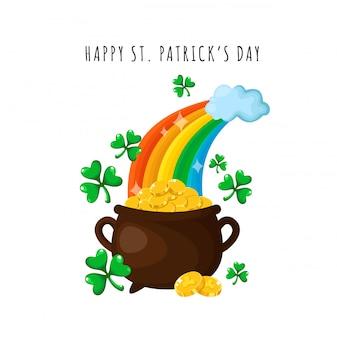Dibujos animados del día de san patricio, olla o caldero de monedas de oro, tarjeta de felicitación o póster