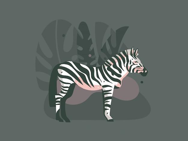 Dibujos animados dibujados a mano safari africano naturaleza concepto ilustraciones con animales cebra
