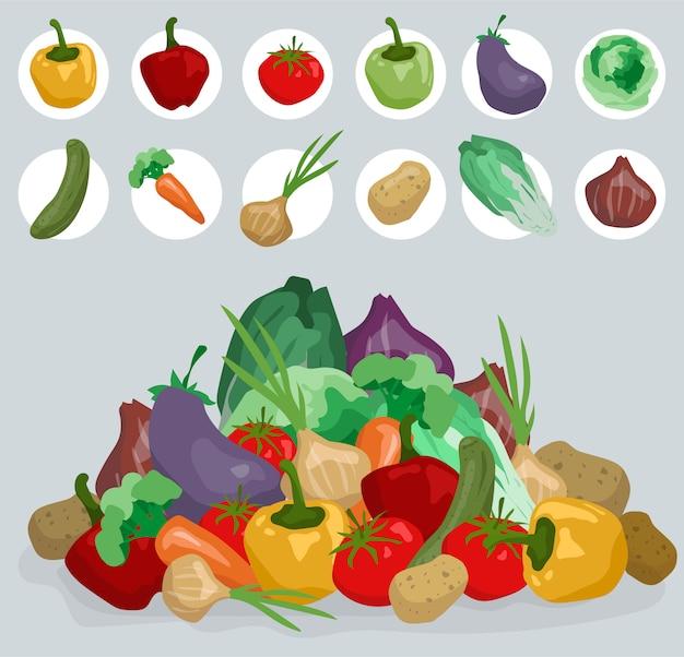 Dibujos animados dibujados a mano verduras para cocinar