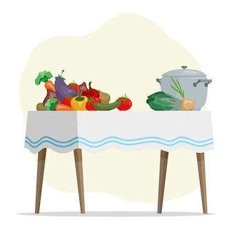 Dibujos animados dibujados a mano verduras y olla sobre la mesa