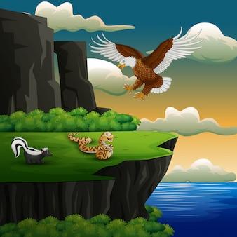 Dibujos animados de diferentes animales en el acantilado
