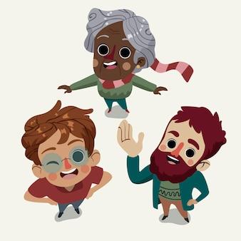 Dibujos animados de diferentes personas mirando hacia arriba