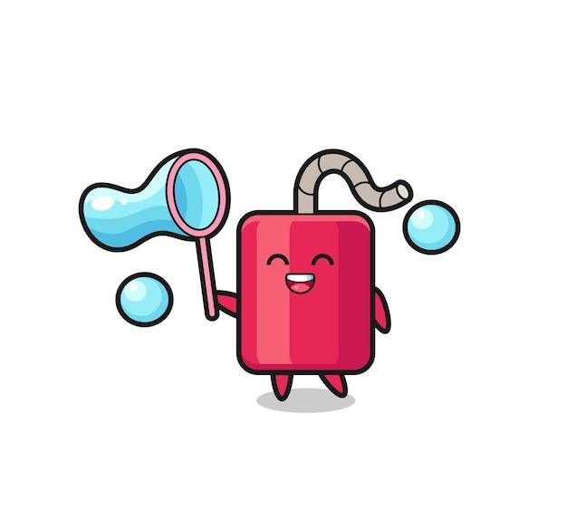 Dibujos animados de dinamita feliz jugando pompas de jabón, diseño de estilo lindo para camiseta, pegatina, elemento de logotipo