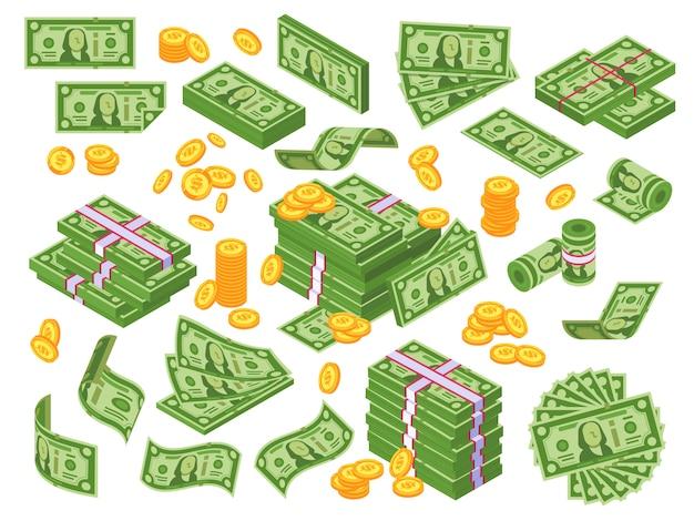 Dibujos animados de dinero. billetes de dólar apilados y monedas de oro