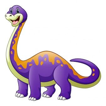 Dibujos animados de un dinosaurio morado con un diplodocus de cuello largo