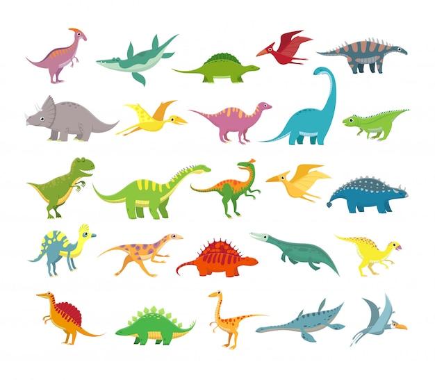 Dibujos animados de dinosaurios. bebé dino animales prehistóricos. linda colección de vectores de dinosaurios