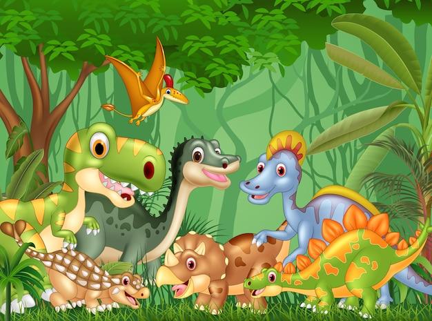 Dibujos animados de dinosaurios felices en la jungla