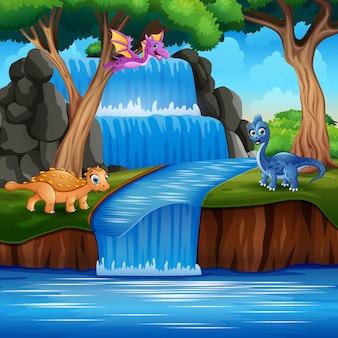 Dibujos animados dinosaurios felices en la naturaleza