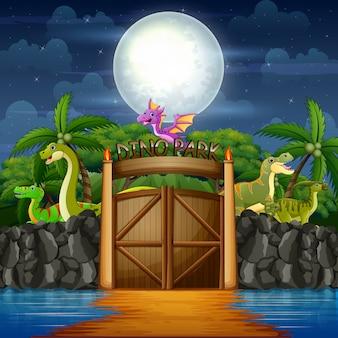 Dibujos animados de dinosaurios en el parque de dinosaurios en el paisaje nocturno