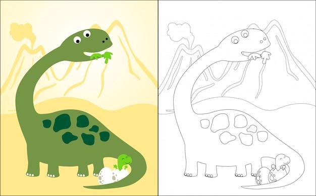 Dibujos animados de dinosaurios con su bebé
