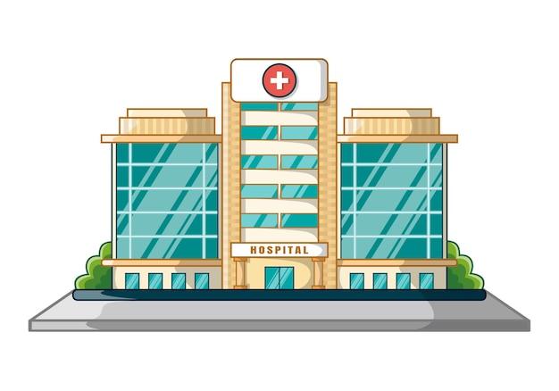 Dibujos animados de diseño de edificio de hospital aislado en blanco