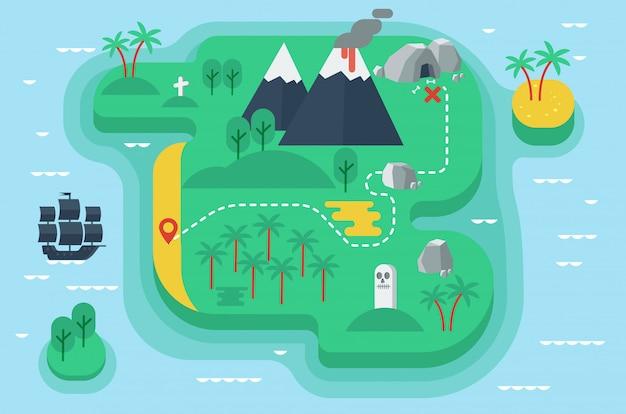 Dibujos animados divertida ilustración plana de la isla de los piratas
