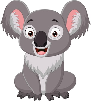 Dibujos animados divertido bebé koala sentado