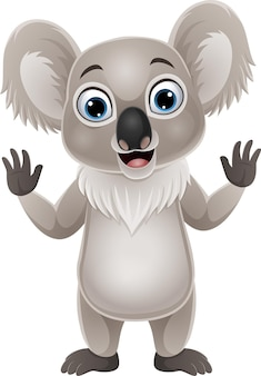 Dibujos animados divertido koala agitando la mano