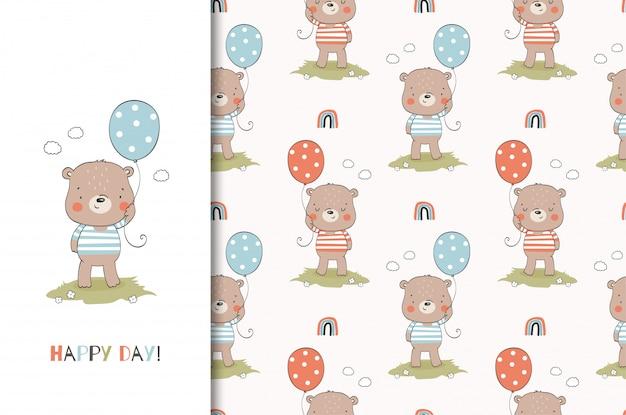 Dibujos animados divertido oso de peluche con globo. plantilla de tarjeta animal y patrones sin fisuras. diseño dibujado a mano