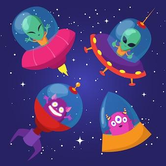 Dibujos animados divertidos alienígenas con ufo en pato cielo estrellado conjunto