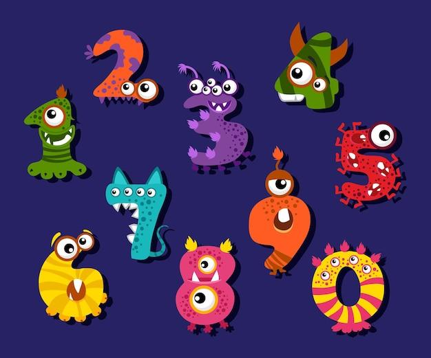 Dibujos animados divertidos números o dígitos cómicos establecidos. ilustración de monstruos de criatura