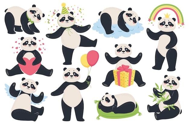Dibujos animados divertidos pandas comiendo bambú durmiendo sentado sosteniendo globos conjunto