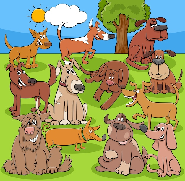 Dibujos animados divertidos perros y cachorros grupo de personajes de cómic