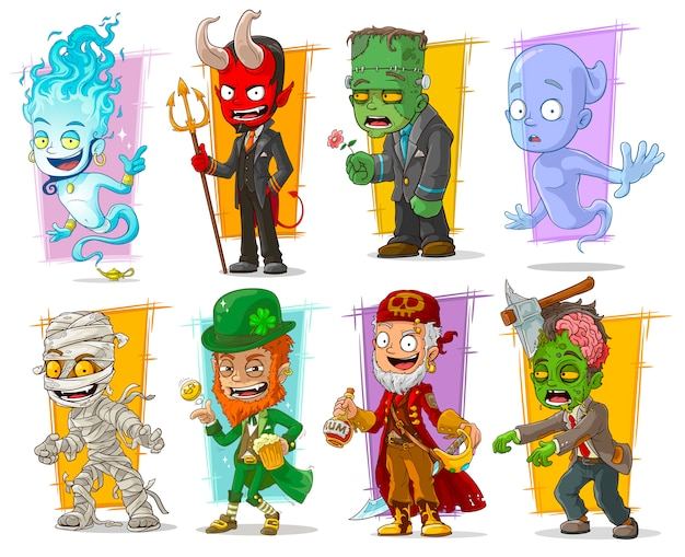 Dibujos animados divertidos personajes monstruos divertidos