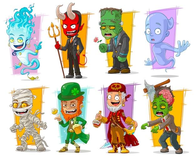 Dibujos animados divertidos personajes monstruos divertidos
