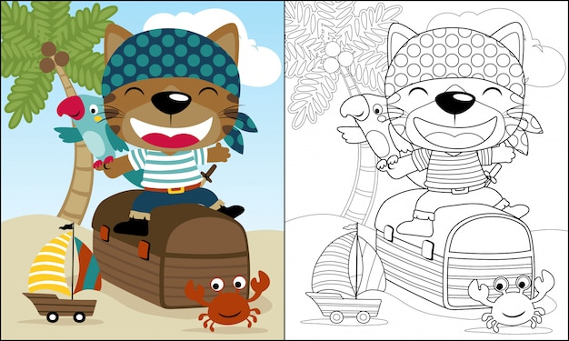 Dibujos animados divertidos piratas sentado en cofre del tesoro