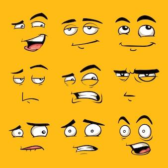 Dibujos animados divertidos rostros con emociones.