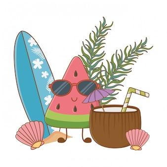 Dibujos animados divertidos de verano y frutas