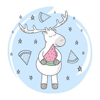 Dibujos animados de doodle de ciervo de sandía