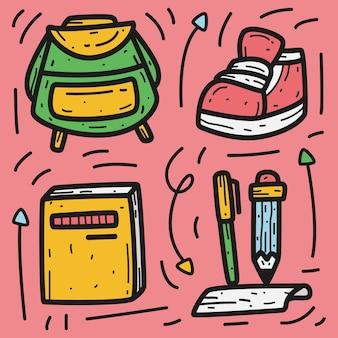 Dibujos animados de doodle kawaii regreso a la escuela