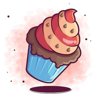 Dibujos animados de doodle de pastel dibujado a mano