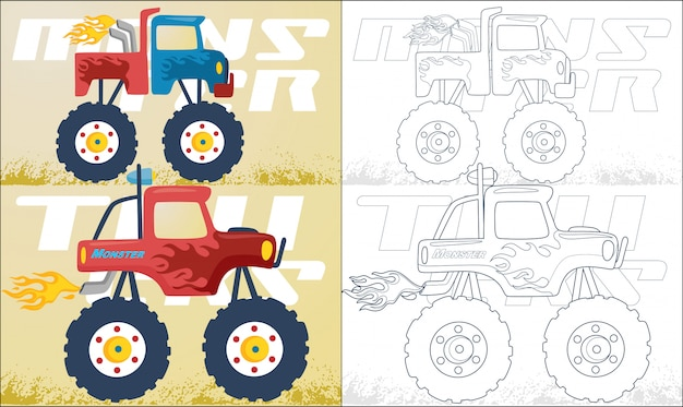 Dibujos animados de dos camiones monstruo