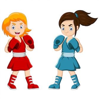 Dibujos animados dos chicas representan la pelea