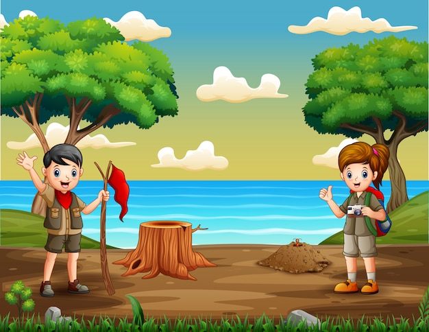 Dibujos animados de dos exploradores en la orilla del río