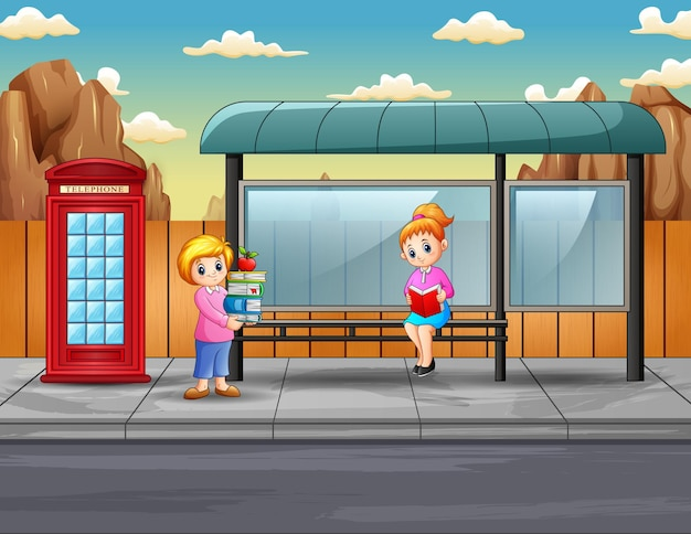 Dibujos animados de dos mujeres sosteniendo libros en la parada de autobús