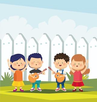 Dibujos animados dos niños tocando guitarras y dos niñas felices sobre valla blanca, ilustración vectorial