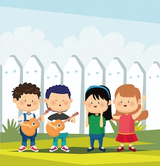 Dibujos animados dos niños tocando guitarras y dos niñas felices sobre valla blanca