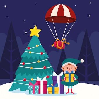 Dibujos animados duende navideño y cajas de regalo y árbol de navidad