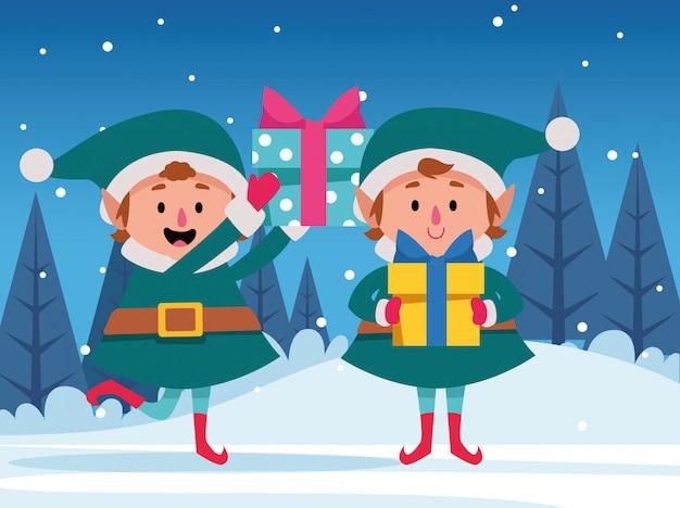 Dibujos animados de duendes de navidad con cajas de regalo, coloridas