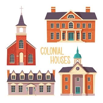 Dibujos animados de edificio de estilo colonial retro urbano