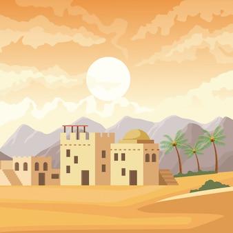 Dibujos animados de edificios de la india en el paisaje del desierto