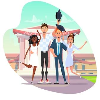 Dibujos animados de educación familiar y graduación universitaria