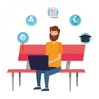 Dibujos animados de educación en línea