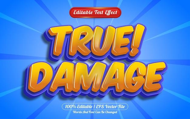Dibujos animados de efecto de texto editable 3d de daño verdadero o estilo de juego