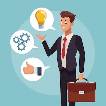 Dibujos animados ejecutivo de empresario